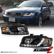 2002-2005 Audi A4 Typ 8E B6 Black LED R8 Style Projector Headlight Lamps Sedan