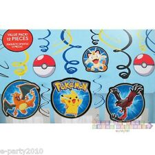 POKEMON Pikachu & Friends SWIRL DECORATIONS (12) ~ Birthday Party Supplies Foil