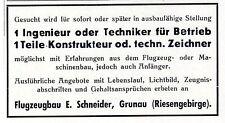 Flugzeugbau E. Schneider Grunau Riesengebirge sucht Ingenieur Konstrukteur 1940