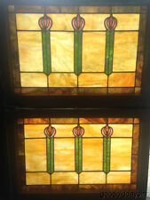 "Beautiful Pair of Stained Leaded Glass Windows From Chicago 32"" x 23"""