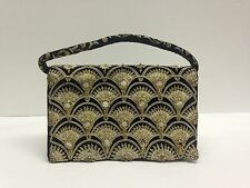 Antique Vintage Velvet Gold embroidered Purse evening bag ZARDOZI 30s 40s India