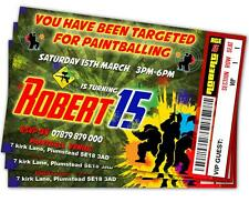 BIRTHDAY PARTY INVITATIONS Paintball Delta Force Go Ballistic Ticket Style