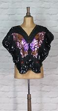 Vintage Blouse Top 80s Retro Women Evening Cocktail Party Butterfly UK 12/14