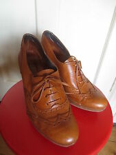 Beautiful tan leather high stack heel lace-up brogues from Office, EU40/UK7
