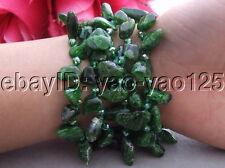 R032111 5Strds Diopside&Crystal Bracelet
