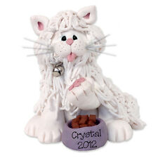 WHITE PERSIAN KITTY CAT Personalized Ornament Handmade Polymer Clay by Deb & Co.