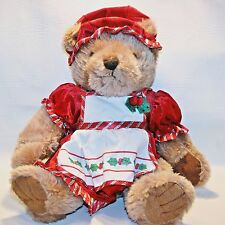 Hometown Products Plush Christmas Cabin Lodge Decor Bear Holly Apron Hat Soft