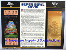 DALLAS COWBOYS vs BILLS Willabee & Ward 22KT GOLD SUPER BOWL 28 TICKET SB XXVIII
