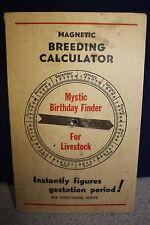 1928 MAGNETIC BREEDING CALCULATOR for Livestock ORTHO PHARMACEUTICAL Linden, NJ