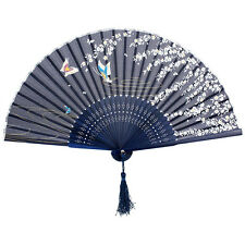 Chinese Japanese Folding Silk Bamboo Butterflies Sakura Hand Fan Wedding lj
