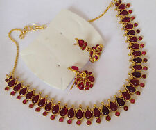 South Indian Traditional Jewellery gold TONE RED design necklace jhumki earring