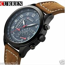 2016 New Fashion Curren Branded Leather Strap Military wrist Watch -RDE