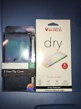 Lot Of 2pc Samsung S6 edge+/PLUS S-View Flip  Case , Invisible Shield Protector