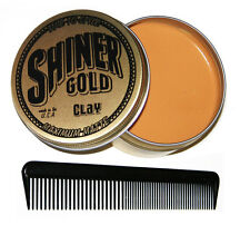 SHINER GOLD MAXIMUM MATTE CLAY Pomade 4OZ greaser Made in USA Free Comb NEW