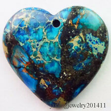 Beautiful Blue Sea Sediment Jasper & Pyrite Heart Pendant Bead D0075160
