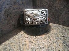Rare!! Kieselstein-Cord Sterling Rain Forest Buckle With Alligator Belt