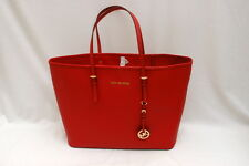 NWT Michael Kors Jet Set Travel Saffiano Leather Med Travel Tote Red