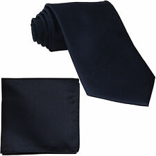 New Polyester Men's extra long Neck Tie & hankie solid wedding navy dark blue