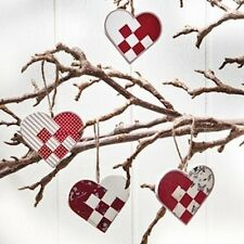 FOUR Scandinavian Wooden Heart Basket Ornaments #7244