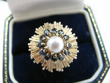 9ct Yellow Gold Huge Sapphires & Pearl Dome Ring 6.9g Sz M 1/4 Us 6.5 Stunning