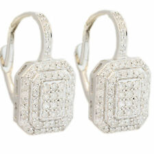 DIAMOND CLUSTER EARRINGS WHITE GOLD 14KT  DANGLING DIAMONDS 0.50CT