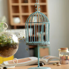 Pastoral Style Retro Shabby Look Blue Rusted Bird Cage Air Plant Holder