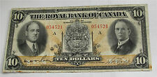 1933 Canada Royal Bank $10 dollars large chartered banknote Rare 630-16-04