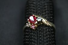 14K Karat Solid Yellow Gold Ladies Ring with Rubies & CZ's 2.6 Grams - Nice!