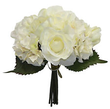 Cream Ivory ROSES HYDRANGEA TULIPS Bridal Bouquet Silk Wedding Flowers Decor