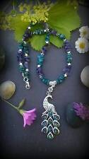 WOW! Apatite & amethyst ornate peacock necklace, faery sight, Wiccan, totem.