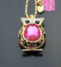 H597G      Betsey Johnson Crystal   Enamel Cute Owl Pendant Long Necklace