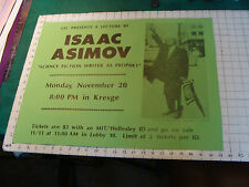 """Orig.Poster 1978 ISAAC ASIMOV MIT Lecture """"science  fiction writer as prophet"""