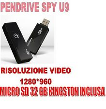 PENDRIVE SPIA U9 NASCOSTA 1280x960 VIDEO SENSORE MOVIMENTO  + MICRO SD 32 GB !