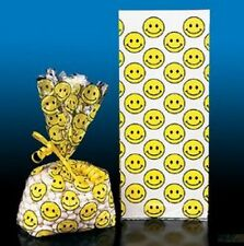 "24 Smiley Smile Face Cello Goody Bags Loot Party Favor Classroom 11"" x 5"" Yellow"
