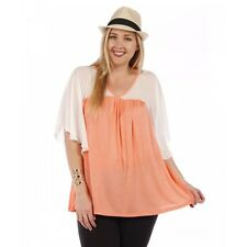Womens Plus Size CORAL Top, Ivory Chiffon Fly Away Sleeves Yummy Plus 1X