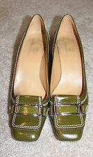Cole Haan 8 AA Shoes Slip-On Green Silver Buckle Square-Toe Heels