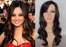 DELUXE MILA KUNIS LONG BROWN CURLY BLONDE HIGHLIGHT HIGH FASHION CELEBRITY WIG