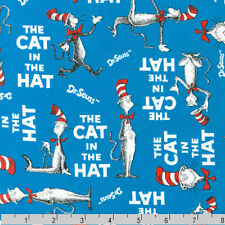 "Dr Seuss ""The Cat In The Hat"" Cats Blue Fabric"