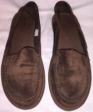 Womens Size 11 SANUK Suede Sidewalk Surfer Flats Slippers Loafers Slip On Shoes