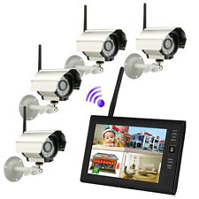 "Wireless 7""TFT LCD 2.4G 4CH Home Security System Monitor Night Vision IR  Camera"