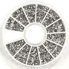 2400 Pcs 1.5mm Clear Nail Art Glitter Round Rhinestones for Tips w/ Wheel