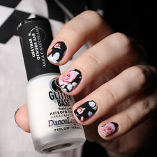 Nail Art Water Decals Wraps Black Pink Floral Flowers UV Tips Decoration (150)