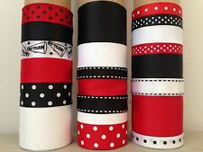 LOT OF 21 YDS. OF GROSGRAIN RIBBON  - BLACK / RED /   WHITE ---  CHEER  -  B060
