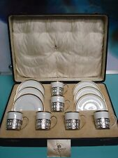 18pc ART DECO 20's Shelley Demitasse Tea / Coffee cup silver liner 925 Box set