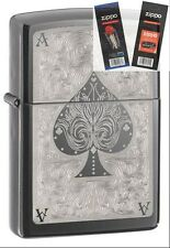 Zippo 28323 ace of spades filigree Lighter with *FLINT & WICK GIFT SET*