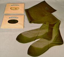 2 Pr. Vtg. Seamed Full Fashioned Nylon Garter Stockings Fancy Heel 10 Brown