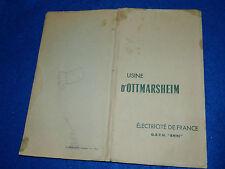 1955 EDF USINE de OTTMARSHEIM electricité de FRANCE plan coupe ECLUSE schéma