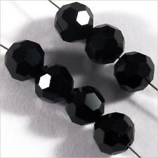 Lot de 20 perles à FACETTES 8mm en Cristal de Bohème Noir