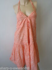 ☆ Ladies Peach/Beige Print 100% Cotton Halterneck Short Dress UK 8-10 EU 36-38 ☆
