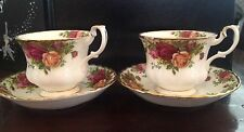 (2) Royal Albert Bone China Old Country Roses Tea Cups and Saucer Set Teacup EUC